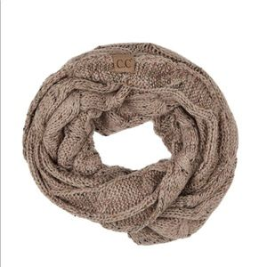 Confetti knit cable C.C infinity scarf Taupe
